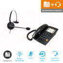 Agent 1000 Corded Telephone - Black and JPL 100 Monaural Noise Cancelling Office Headset (JPL100M) Bundle3