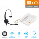 Agent 1000 Corded Telephone - White and JPL 501 Monaural Noise Cancelling Office Headset (JPL 501-P) Bundle1