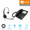 Agent 1000 Corded Telephone - Black and JPL 501 Monaural Noise Cancelling Office Headset (JPL 501-P) Bundle2