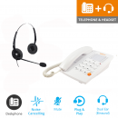 Agent 1000 Corded Telephone - White and JPL 100 Binaural Noise Cancelling Office Headset (JPL100B) Bundle2