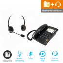Agent 1000 Corded Telephone - Black and JPL 100 Binaural Noise Cancelling Office Headset (JPL100B) Bundle2