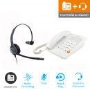 Agent 1000 Corded Telephone - White and JPL 401 Monaural Noise Cancelling Office Headset (JPL 401-P) Bundle1