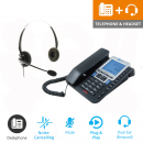 Agent 1100 Corded Telephone and JPL 100 Binaural Noise Cancelling Office Headset (JPL100B) Bundle2