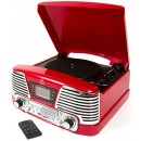 GPO Memphis Retro Vinyl Record Player 4 in 1 Music System - Red