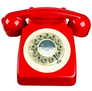 image of a red retro phone